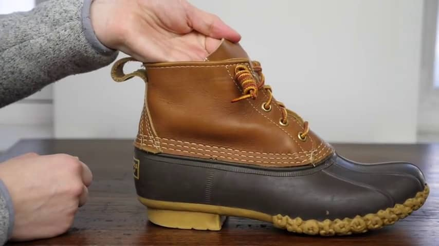Continue crossing sides with the laces until you've laced up the whole boot